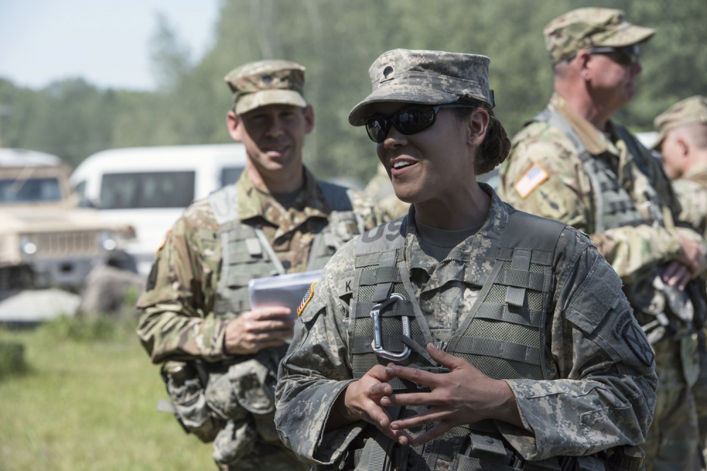Vermont became the first state to allow women into all combat arms units April 28, 2021, following authorization issued by the National Guard Bureau. Pictured, Spc. Maryi Burnside (left) and Sgt. Vic Harper, both assigned to the Florida National Guard's 779th Engineer Battalion, prepare a piece of detonation cord that will be attached to a block of composition C4 at McCrady Training Center April 10, 2016.