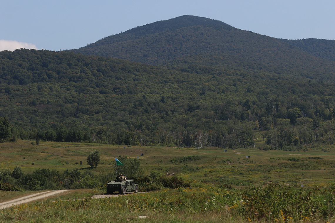 A 1st Squadron, 172nd Cavalry Regiment Humvee parks while observing a range at Camp Ethan Allen Training Site in Jericho, VT on September 9, 2020. The soldiers of the Vermont Army National Guard's 1-172nd used their annual training to prepare themselves for future deployments. Construction will begin this summer on a light demolition range on CEATS. (U.S. Army National Guard photo by Cpl. Gillian McCreedy)
